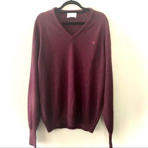 Vintage Burgundy Christian Dior V-Neck Sweater L